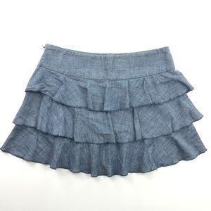 Express Ruffled Chambray Skirt Sz 6
